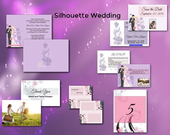 Silhouettes Wedding/Wedding Invitation Suite/Wedding Invitation Set/Personalized Wedding Invitation Set/Unusual/Modern Wedding