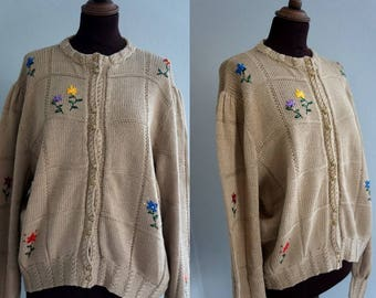 Vintage Embroidered Cardigan / 1990 knitted cardigan
