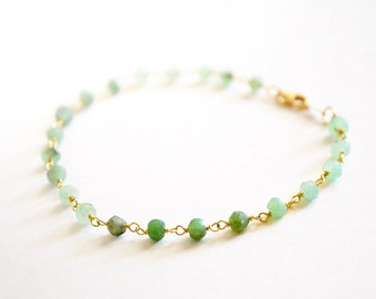 FLASH SALE /// chrysoprase gold bracelet  /// stacking gemstone beaded bracelet /// everyday delicate bracelet