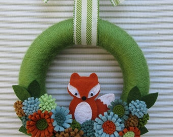 Fox Wreath, Felt Fox Wreath, Felt Flower Wreath, Green Fox Wreath, Woodland Fox Wreath
