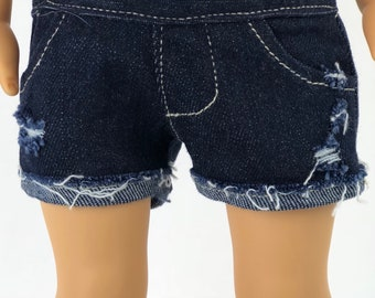 Doll Distressed Jean SHORTS for 18 Inch Dolls such as American Girl