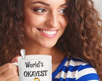 Worlds Okayest Software Developer Mug, Okayest Employee, Gift Ideas for Funny Employee, Awards, Birthdays, Engagements, Leaving, Coffee Mugs
