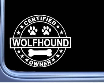 "Certified Irish Wolfhound L321 Dog Sticker 6"" Window Decal"