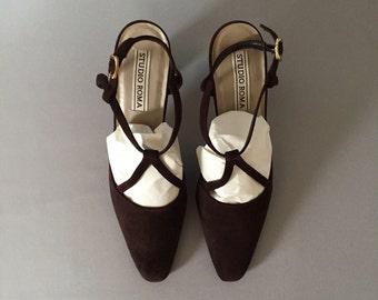 90s fudge suede high heels | strappy pumps | 9.5