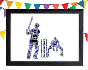 Personalized Gift Cricket Gift For Cricket Player Cricket Match Gift Wall Prints Wall Art Wall Decor Personalised Gift Wall Art Prints