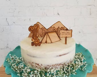 """Custom Wedding Cake Topper, Camping and Mountain scene Wedding Cake Toppers, Lasercut wooden cake topper, """"Happy Campers"""" Cake decoration"""