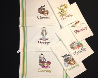 Set of Seven Embroidered Cotton Days of the Week Towels Featuring Coffee