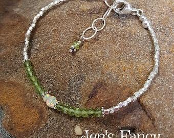 Peridot & Ethiopian Opal Natural Gemstone Bracelet, Gemstone Jewelry, Minimalist, Layering Bracelet, Gift for Mom, August Bithstone, Green
