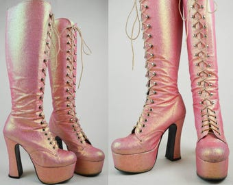90s Does 70s Pink Glitter Lace Up Knee High Platform Boots UK 4 / US 6.5 / EU 37