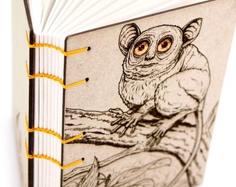 Koboldmaki Journal - Lay Flat Journal - Unlined Journal - Tarsier Journal - 160 Pages - handmade by Ruth Bleakley