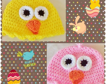 Newborn/Toddler/Adult Crochet Chick hat, bow, easter hat, easter photo prop, chicken hat, baby bird hat