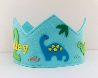 Dinosaur Felt Crown, Birthday Crown, Personalized, Wool Felt, Smash Cake, Photo Prop