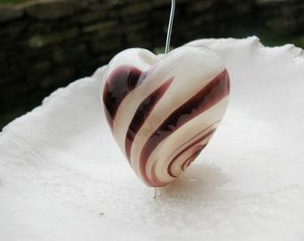 Murano Blown Heart Bead - 35mm x 37mm