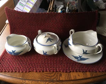Bluebirds of happiness  semi vitreous Knowles, Taylor & K 1920's sugar bowl lid creamer gravy boat with attatched plate