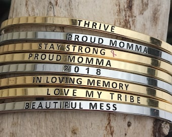 Brass Stamped Message Bracelet