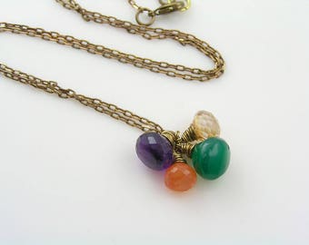 Gemstone Cluster Necklace, Amethyst, Onyx and Carnelian Necklace, Gemstone Jewelry, Gem Necklace, Wire Wrapped Jewelry, N2138