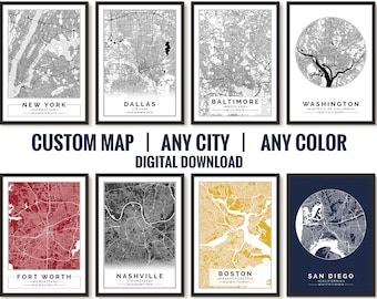 2 Custom City Map Print, Customize the size and color, Printable map, Wall art