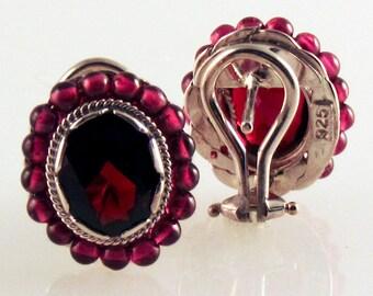 Deep Red Garnet Gemstone & Bead Earring Set