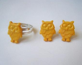 Set ♥ ♥ yellow owls