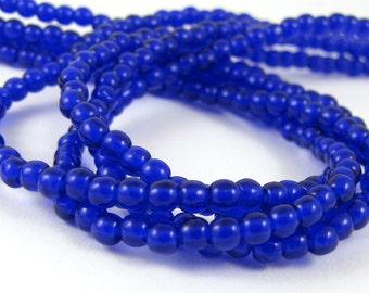 Cobalt Blue 3mm Smooth Round Czech Glass  Beads 100pc #1648