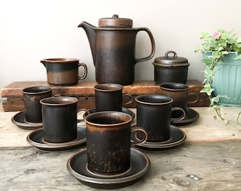 Vintage Arabia Ruska Coffee Set, 60's Mid Century Finnish Kitchenware , Ulla Procope Design for Arabia Finland