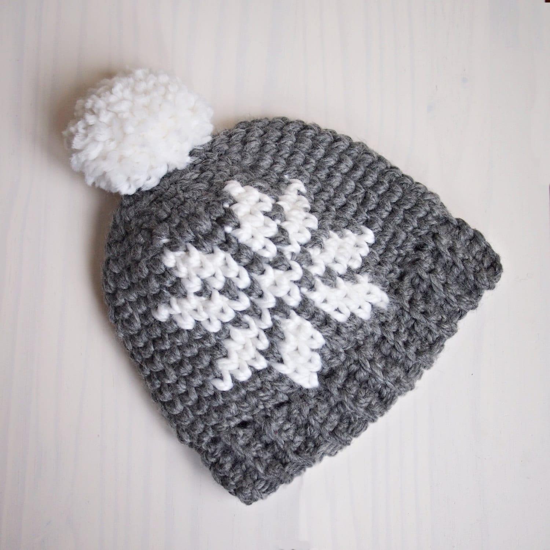 Crochet pattern Nordic snowflake knit look hat women Sweedish pom ...
