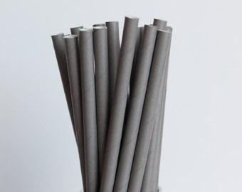 Solid Dark Grey Paper Straws-Mason Jar Straws-Dark Gray Straws-Silver Wedding Straws-Birthday Party Straws-Paper Drinking Straws-Grey Straws