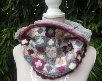 COLLAR SNOOD GRANNY crochet neck and faux fur
