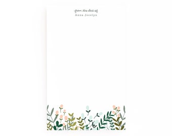 Personalized Notepad | Large Floral Illustrated Custom Notepad, Customized Stationery : Garden Wreath Collection Personalized Stationery