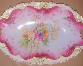 """Deep pink RS Prussia 13"""" x 8"""" with steeple mark RS Germany bun bowl"""