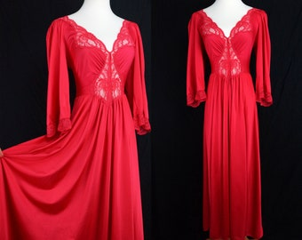 Olga Nightgown Long Sleeve Red Stretch Lace Plunge Small Medium 1970s Wide Sweep Maxi