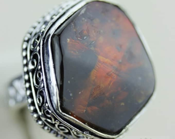 Size 9 GENUINE CANADIAN AMMOLITE (Nickel Free) 925 Fine S0LID Sterling Silver Ring & Free Worldwide Express Shipping r1650