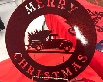 18' Merry Christmas Truck Metal sign