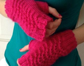 Hot Pink Wool Gloves