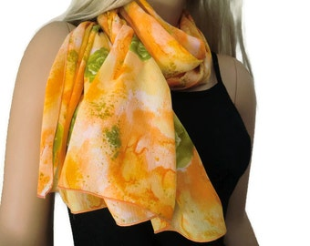 Sunny Orange and yellow long floral chiffon scarf -Parisian Neck Tissu