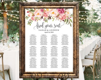 Wedding Seating Chart Template, Boho Chic Floral Wedding Table Plan, Seating Board, Seating Plan, #A049, INSTANT DOWNLOAD, Editable PDF