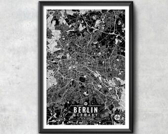 BERLIN Germany Map with Coordinates, Berlin Wall Art, Berlin Map, Map Art, Map Print, Berlin Print, Berlin Art, Wall Art, Map Wall Art, Art