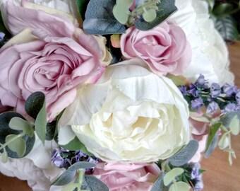 Brides bouquet peony roses lavender wedding flowers