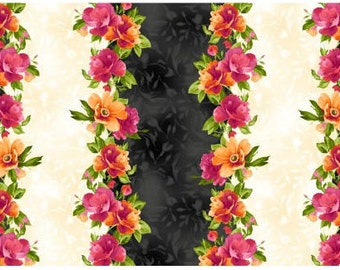 Paradise by Maywood Studio - Per yard - Border Print MAS 8452-J  beautiful floral, tonals, blenders, tulips & roses!