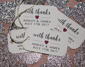 With Thanks Wedding Favor Tags - 40 qty