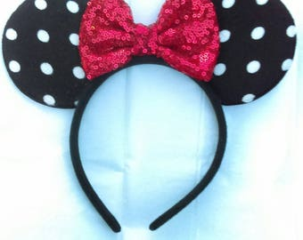 Mouse Ears, Polka Dot Ears, Sparkly Red Bow, Mouse Ears