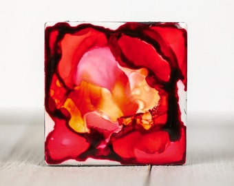 Alcohol Ink magnet - Ceramic tile art - Valentines - Flower painting - Abstract art painting - Miniature art - Gift for mom - Housewarming