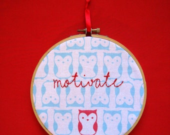 Embroidered Owl- Motivate