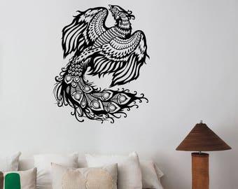 Phoenix Bird Wall Sticker Ancient Animal Vinyl Decal Fantasy Greek Mythology Art Decorations for Home Room Bedroom Spiritual Decor phx2