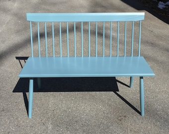 Painted Blue Spindle Back Bench, Ash Entry Spindle Bench, Wooden Bench, Bench with Back, Custom Bench, Milk Paint Bench, Restaurant Bench