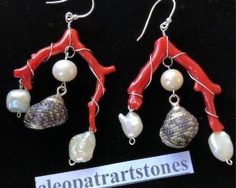 Earrings in Coral branch, pearls, shells, silver. Cleopatrartstones