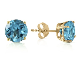 Gold  Stud EARRING With NATURAL Blue TOPAZ