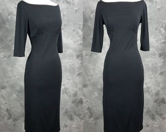 Black body con dress, long sleeve pencil dress, boat neck, small