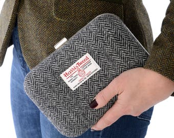 Harris Tweed Clutch Bag, Herringbone clutch bag, Black and Grey Tweed bag, Tweed Bag, Tweed Clutch Bag, country bag