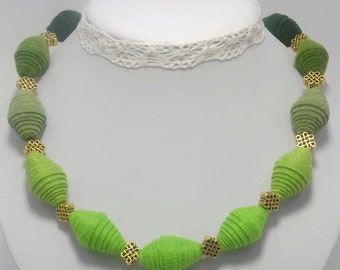 Felted necklace, Felt necklace, Felt beads necklace, Green, Blue felt necklace, Wool necklace, Women Necklace